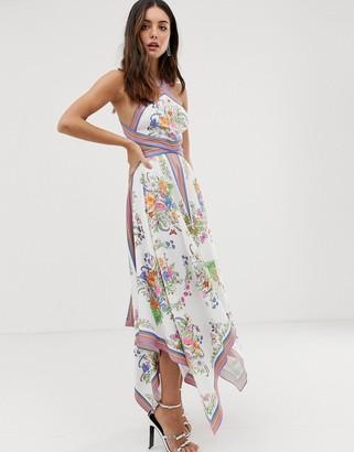 Asos EDITION scarf print halter midi dress with cutout sides