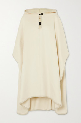 Isabel Marant Eowyn Hooded Faux Leather-trimmed Wool-blend Cape - Ecru