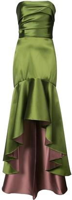 Marchesa Notte Fluted Asymmetric-Hem Gown
