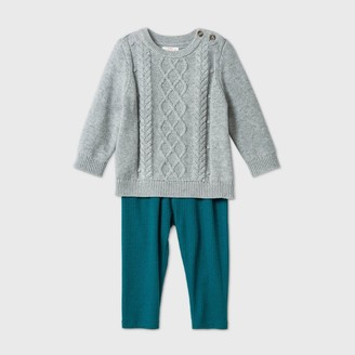 Cat & Jack Baby Cable Sweater Top & Bottom Set - Cat & JackTM Heather Gray