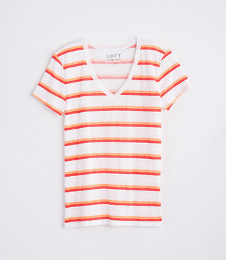 LOFT Striped Everyday V-Neck Tee