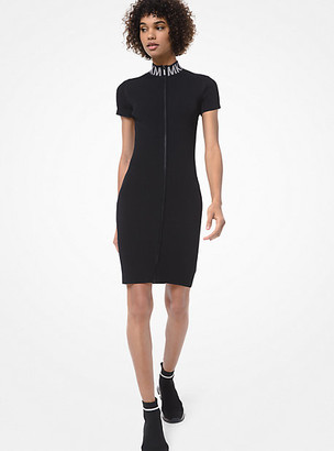 MICHAEL Michael Kors MK Ribbed Stretch-Viscose Zip-Front Dress - Black - Michael Kors