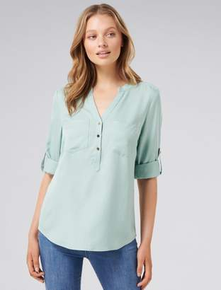 Ever New Mika Popover Roll-Sleeve Shirt