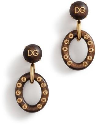 Dolce & Gabbana Logo Plaque Wooden Hoop Earrings