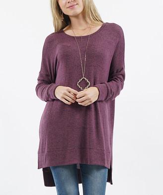 Melange Home Lydiane Women's Pullover Sweaters EGGPLANT - Eggplant Crewneck Side-Slit Tunic - Women & Plus