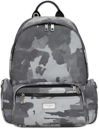 Dolce & Gabbana Logo Plaque Camo Nylon Backpack