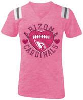 5th & Ocean Arizona Cardinals Pink Heart Football T-Shirt, Girls (4-16)