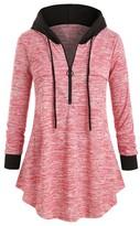 Cellabie CELLABIE Women's Sweatshirts and Hoodies Pink - Pink Front-Zip Hooded Curved-Hem Tunic - Women