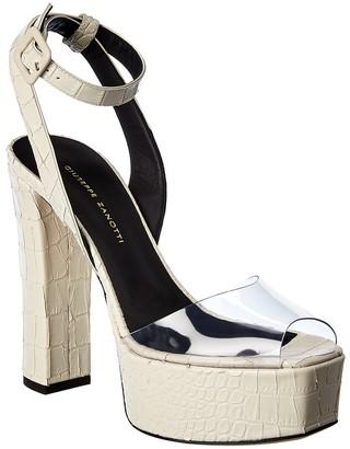 Giuseppe Zanotti Pvc & Croc-Embossed Leather Platform Sandal