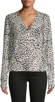Sanctuary Leopard-Print Faux Wrap Cotton-Blend Sweater