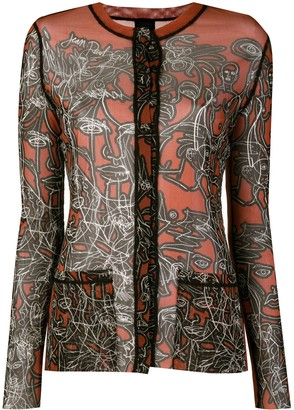 Jean Paul Gaultier Pre-Owned Scrible print sheer shirt