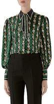 Gucci Women's GG Round Chains On Twill Silk Blouse