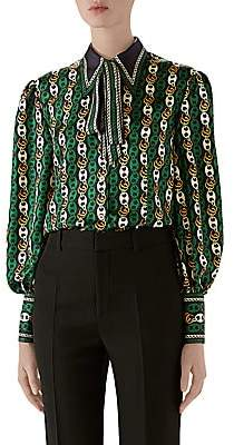 Gucci Women's GG Round Chains On Twill Silk Blouse