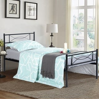 Simlife Twin/Full/ Queen Metal Bed Frame Bedroom Furniture Replacement with Headborad & Footboard