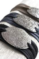 Lera Jewels Large Oval Diamond On Silk Ribbon Bracelet
