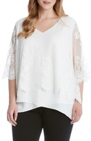 Karen Kane Plus Size Women's Lace Overlay Asymmetrical Crepe Top