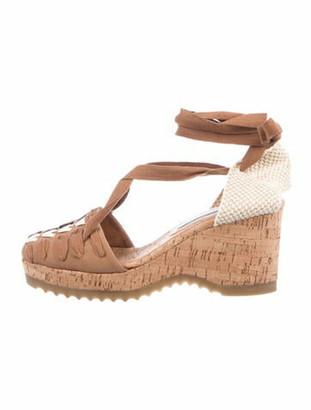 Stella McCartney Lace Toe Espadrille Crochet Trim T-Strap Pumps Brown