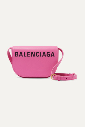 Balenciaga Ville Day Xs Aj Printed Textured-leather Shoulder Bag - Bright pink