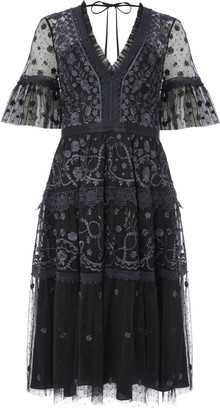 Needle & Thread Midsummer Lace-Trimmed Embroidered Point D'esprit Tull