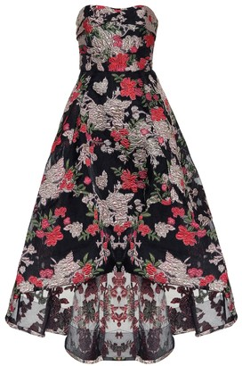 Marchesa Floral fil-coupe strapless gown