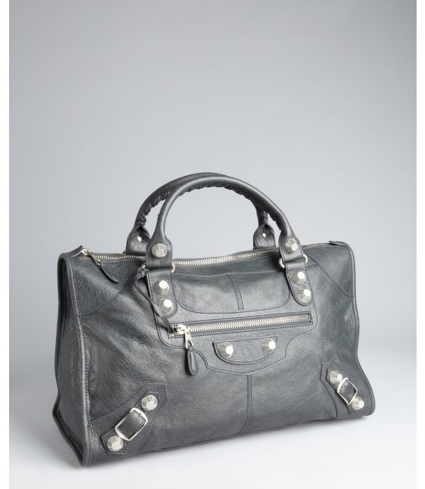 Balenciaga anthracite lambskin large 'Giant Work' bag