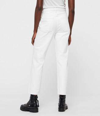 AllSaints Mari High-Rise Cropped Boyfriend Jeans, White