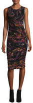 Fuzzi Sleeveless Paisley-Print Ruched Sheath Dress, Gardenia