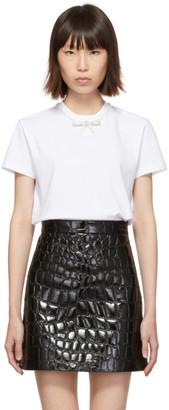 Miu Miu White Jersey Bow T-Shirt