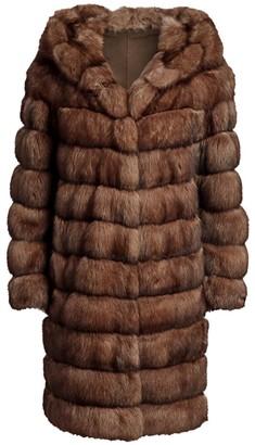 The Fur Salon Hooded Sable Fur Long Coat