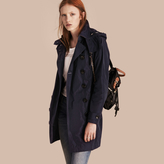 Burberry Taffeta Trench Coat with Detachable Hood , Size: 16, Blue