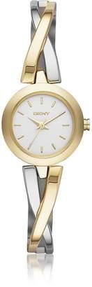 DKNY Crosswalk Round Dial Two Tone Stainless Steel Women's Watch