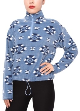 Planet Gold Juniors' Printed Half-Zip Fleece Top