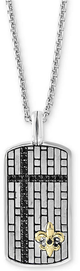 "Effy Men's Black Sapphire Dog Tag 22"" Pendant Necklace (3/4 ct. t.w.) in Sterling Silver & 14k Gold"