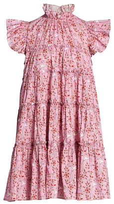 Rhode Resort Tiffanny Floral & Bird Print Babydoll Dress