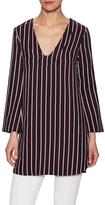 Lush Women's Striped V-Neck Blouse