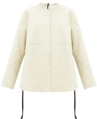 Sara Lanzi Side Tie Cotton Twill Shirt Jacket - Womens - Ivory