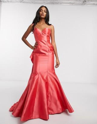 Jovani strapless ruffle detail fishtail dress-Pink
