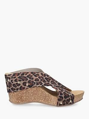 Carvela Comfort Sooty Cross Strap Wedge Heel Sandals, Leopard Print