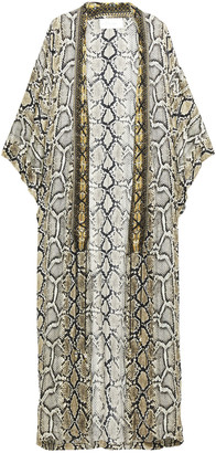 Camilla Lace-up Crystal-embellished Snake-print Silk Crepe De Chine Kimono