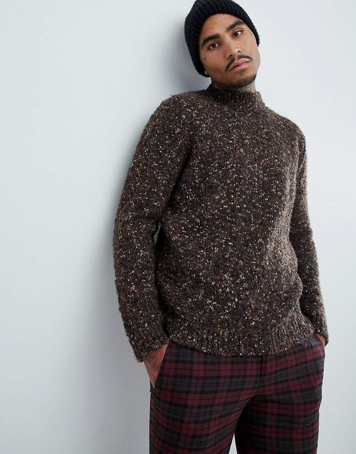 Asos Design DESIGN heavyweight textured turtleneck sweater in brown