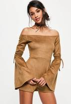 Missguided Brown Faux Suede Bardot Flare Tie Sleeve Romper