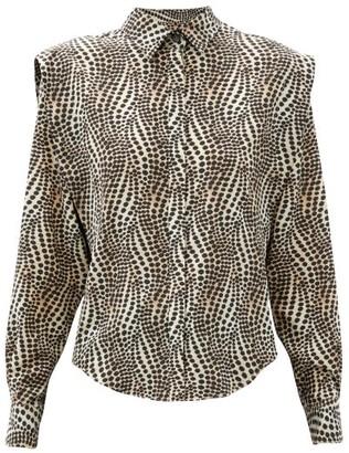 Isabel Marant Igalki Dot-print Silk-blend Poplin Shirt - Beige Print