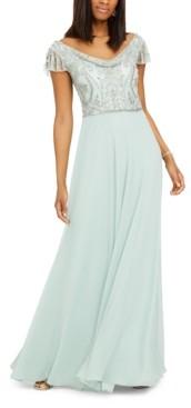 J Kara Beaded Cowlneck Gown
