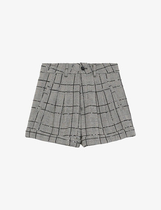 The Kooples Rhinestone-embellished checked woven shorts
