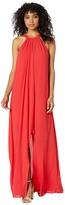 BCBGMAXAZRIA Halter Gown with Ruffle Cascade (Jewel Red) Women's Dress