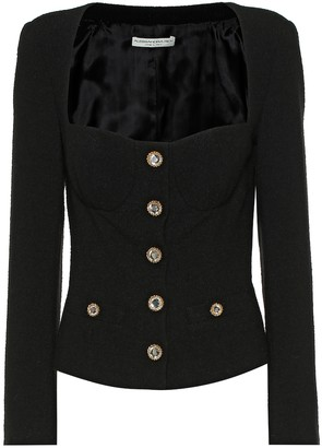 Alessandra Rich Wool-blend tweed bustier jacket