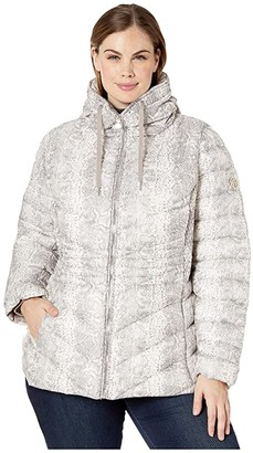 Bernardo Fashions Plus Size EcoPlume Printed Packable Puffer Jacket (White Snake) Women's Jacket