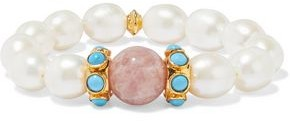 Bounkit 14-karat Gold-plated, Freshwater Pearl, Turquoise And Quartz Earrings