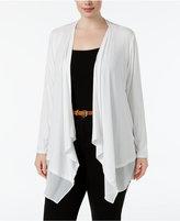 Calvin Klein Plus Size Sheer-Hem Open-Front Cardigan