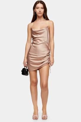 Topshop Womens Ruched Mini Slip Dress - Blush